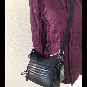Black leather bag cross body /shoulder strap new